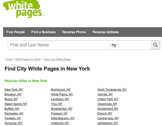 City new-york whitepages