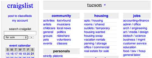 Search Engines For Employment Jobs In Tucson Az Craigslist Nyc