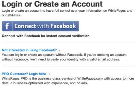 Login whitepages facebook